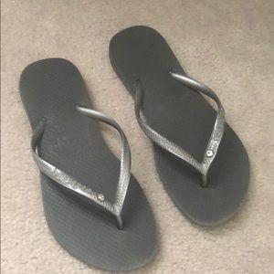 Havaianas Grey and Silver Flip Flops